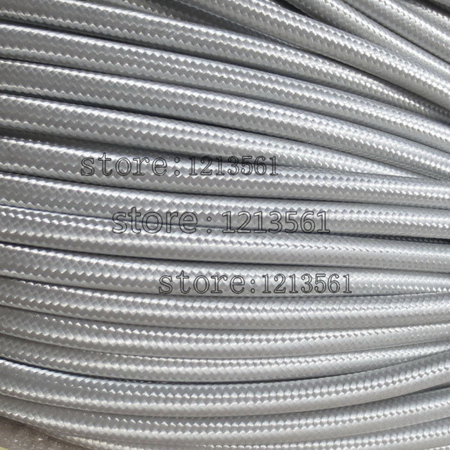 50 meters Grey 2 core 0.75mm2 Textile Electrical Wire Color Braided ...