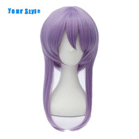 Your Style Long Purple Straight Anime Cosplay Wig With Ponytails Party Costume Synthetic Fake Hair High
