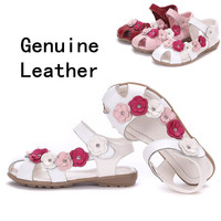 2015 NEW 1pair Flower Children Sandals Genuine Leather Shoes Super Quality Girl Sandals Age 3 12