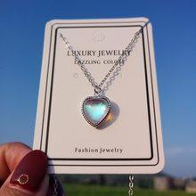 Pingente de pedra da lua, pingente pequena para mulheres, amor, coração, colar, melhor presente para amigo, joia de prata 925