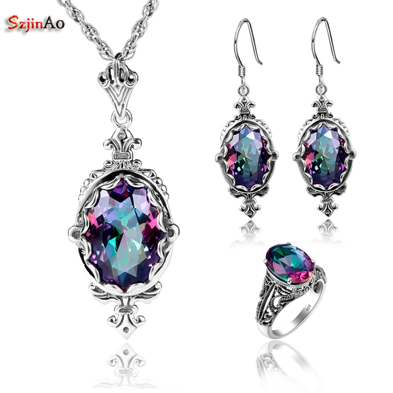 Szjinao Egg Mystic RainbowTopaz Vintage Real 925 Sterling Silver Fashion Jewelry Sets For Women Wedding Pendant