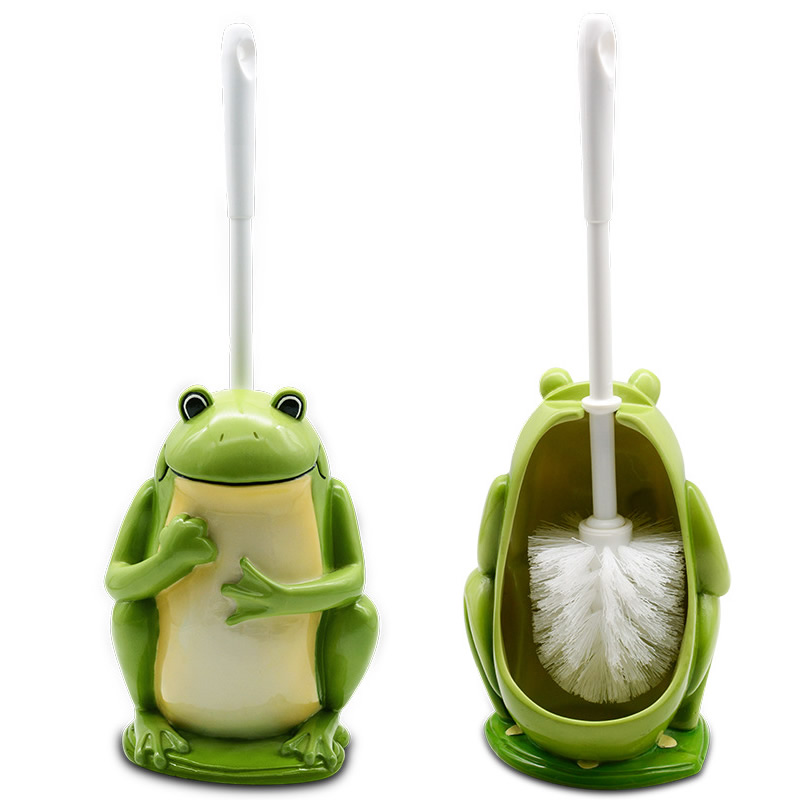 New Creative Cute Frog Toilet Brush Holder Resin Base Home Hotel Toilet Supplies Bathroom Cleaning Tools
