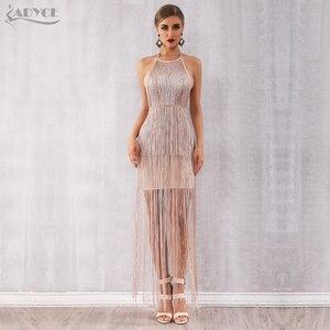 Image 2 - Adyce 2020 ฤดูร้อนใหม่FringeชุดสตรีVestidosเซ็กซี่Celebrity Eveningรันเวย์ชุดNude Maxi Tasselsชุดคลับ