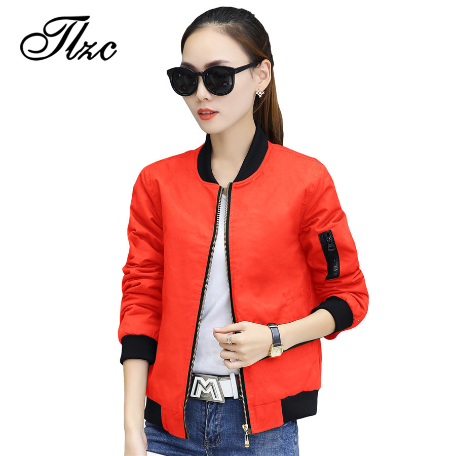 TLZC Young Lady Bomber Jacket Size M-2XL Zip Decor Women Casual Thin Coats Women Windbreaker Female Basic Baseball Jacket