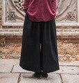 Lençóis de Algodão Cor Sólida Calças Perna Larga das mulheres Plus Size Senhoras Solta Stright Calças Retro Feminino Nova Primavera Calças De Grandes Dimensões