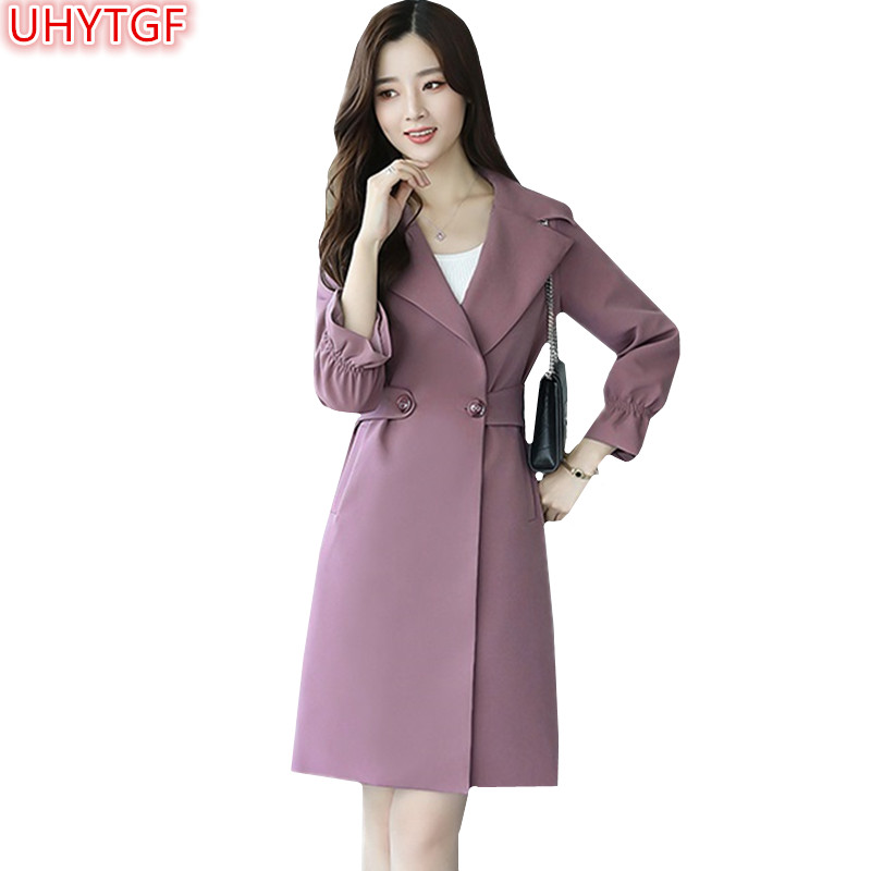 HUYTGFSpring Women's   trench   coat 2018 new slim plus size 4XL womens basic coats solid color trumpet sleeve windbreaker female122