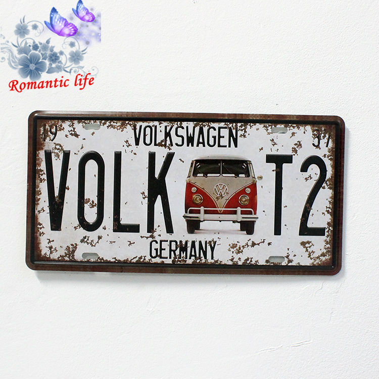 volkswagen VOLK T2  Bump effect  Vintage Tin Sign Bar pub home Wall Decor Retro Metal Art Poster