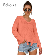 Casual New Loose Tassel Sweater Women V-Neck 2019 Fall Winter Fashion Long Sleeve Knit Pullovers Jumper Sexy Oversized Sweaters все цены