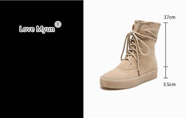 ... Новые зимние сапоги из нубука, женские модные сапоги с круглым носком  на шнуровке, высокие 1bb1600a357