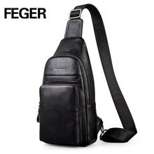 2016 FEGER fashion genuine leather sling bag men casual travel chest pack solid cowhide crossbody bag free shipping