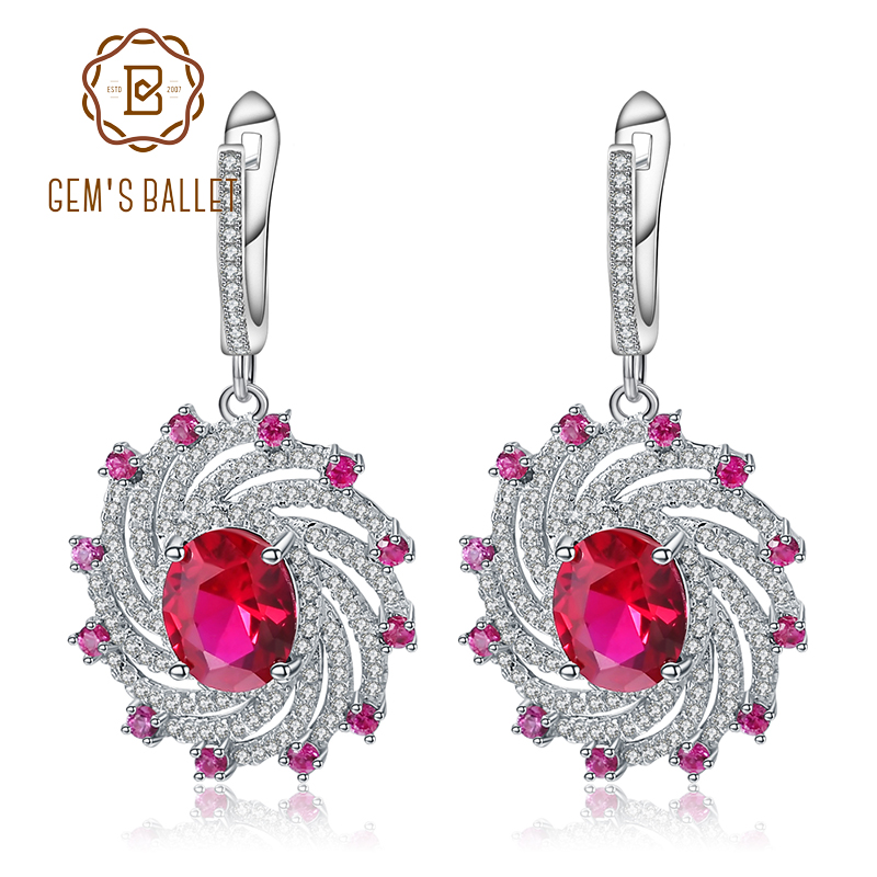 GEM'S BALLET Ruby Spiral Shape Earrings For Women Wedding Fine Jewelry 925 Sterling Silver  Engagement Drop Earrings-in Earrings from Jewelry & Accessories