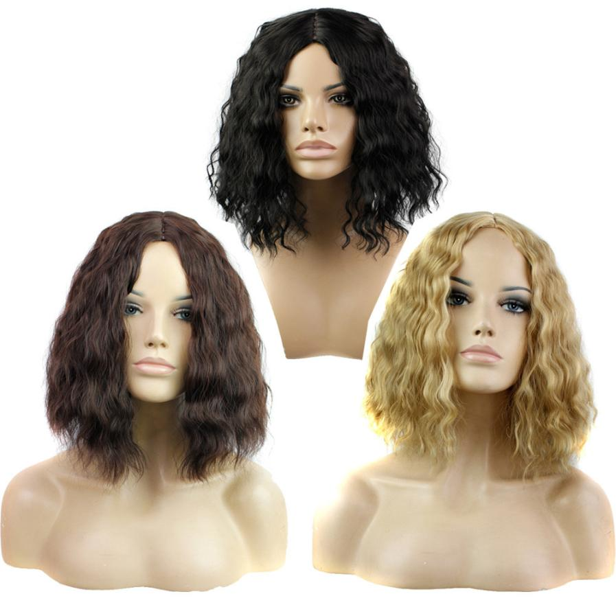 Fashion Lady Sexy Full Bangs Short Curls Hair Cosplay Party Wig 0703 ...