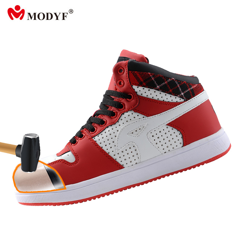 Modyf Men spring steel toe safety shoes hiking boots high top skateboard footwear ankle shoes protective footwear