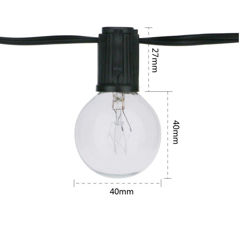ᑐVNL 25Ft G40 Ampoule Globe Guirlandes avec Ampoule Claire Terrasse