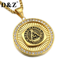 D Z Hiphop Ice Out Men Masonic Pendant Necklace Gold Color Casting Stainless Steel Freemason Necklaces