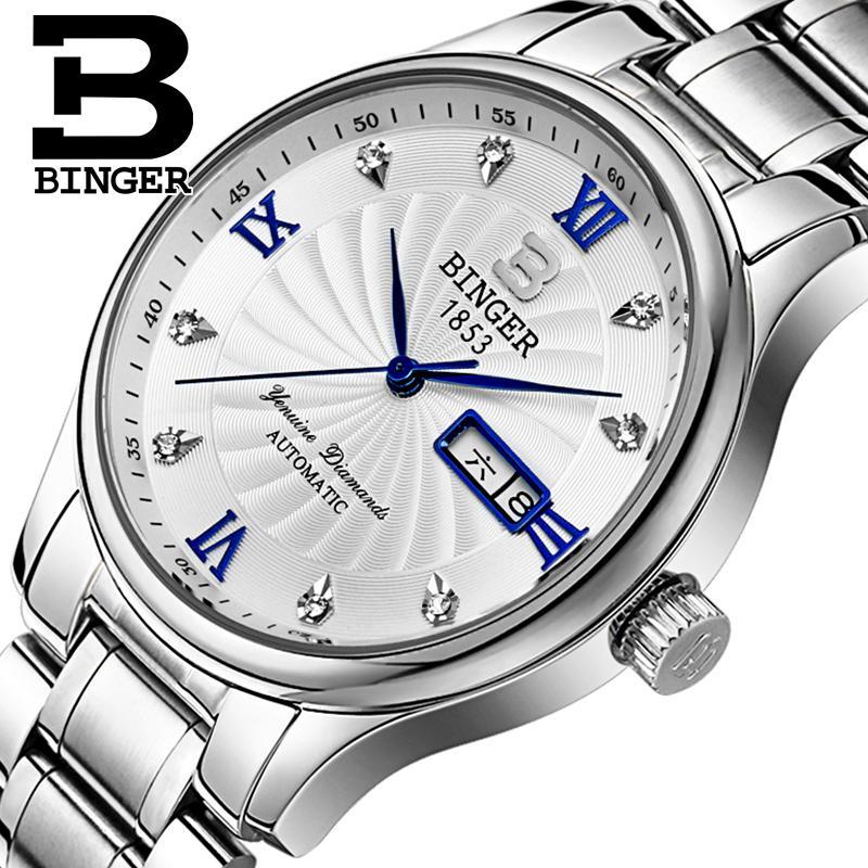 Nouvelle mode Suisse Hommes Montre de luxe de marque horloge BINGER Quartz Homme Montres complet en acier inoxydable Étanche B603B-2