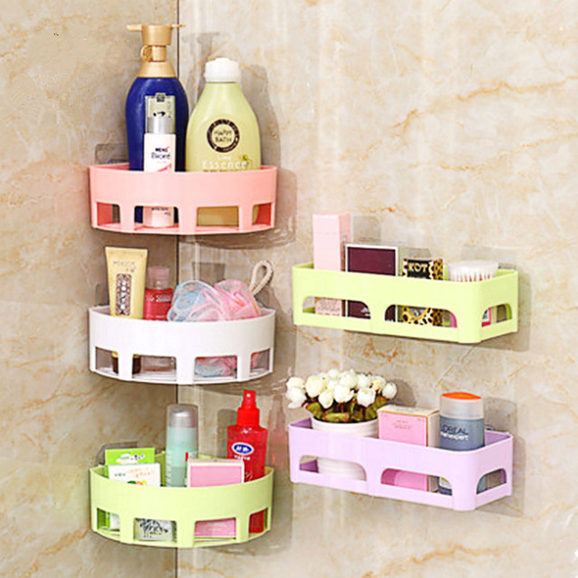 Corner Shelf Bathroom Rack Storage Box For Soap&Sponge Sucker Drain House Gadgets Free Punching Wall Hanging Seamless Daily Tool