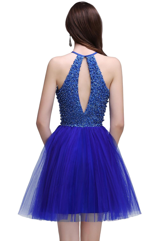 De lujo Con Cuentas Vestidos de Cóctel Azul Real Cortos Vestidos de ...