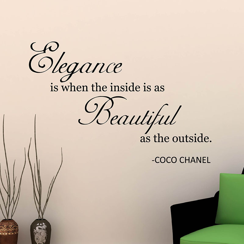 Motivational Quote Wall Sticker Elegance Is When Inside Is