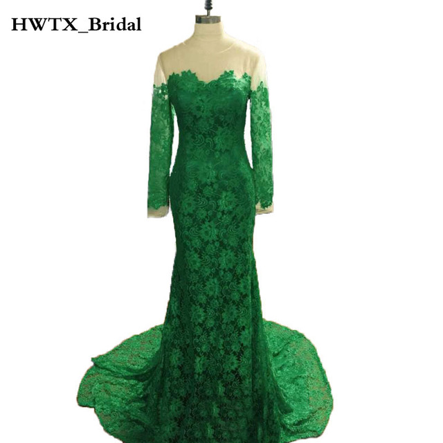 Long Sleeve Mermaid Mother Of The Bride Dresses Sheer Neck Emerald ...