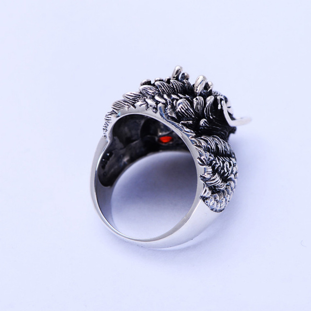 Authentic 925 Sterling Silver Dragon Rings For Men With Garnet Natrual Stone Red Eyes Vintage Punk Rock Mens Fine Jewelry 3