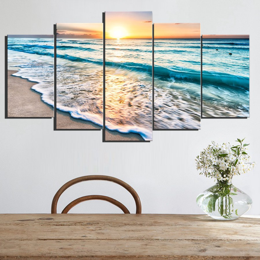 5 panels wall art sunset beach canvas prints sea wave seascape
