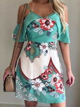 2019 Women Summer Elegant Vacation Leisure Mini Dress Female Holiday Floral Print Cold Shoulder Casual