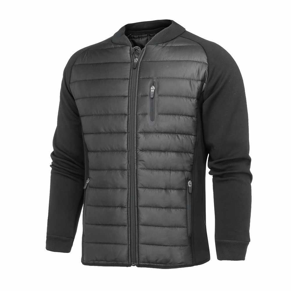 2018 秋冬メンズ綿スリムフィットネスコートスポーツパッド入り男性パーカーコート固体ジッパー男性ジャケットコート