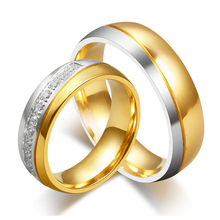 Fashion Fine Jewelry 18K Gold Plated Stainless Steel Couple Rings for Women Men Cubic Zirconia Wedding