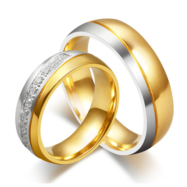 Fashion Fine Jewelry 18K Gold Plated Stainless Steel Couple font b Rings b font for font