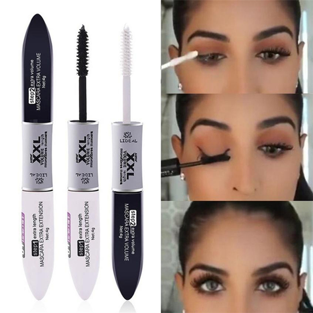 2 IN 1 4D Silk Fiber Lash Mascara Black Mascara Waterproof Silk Fiber Volume Double Lengthening Curling Eye Mascara