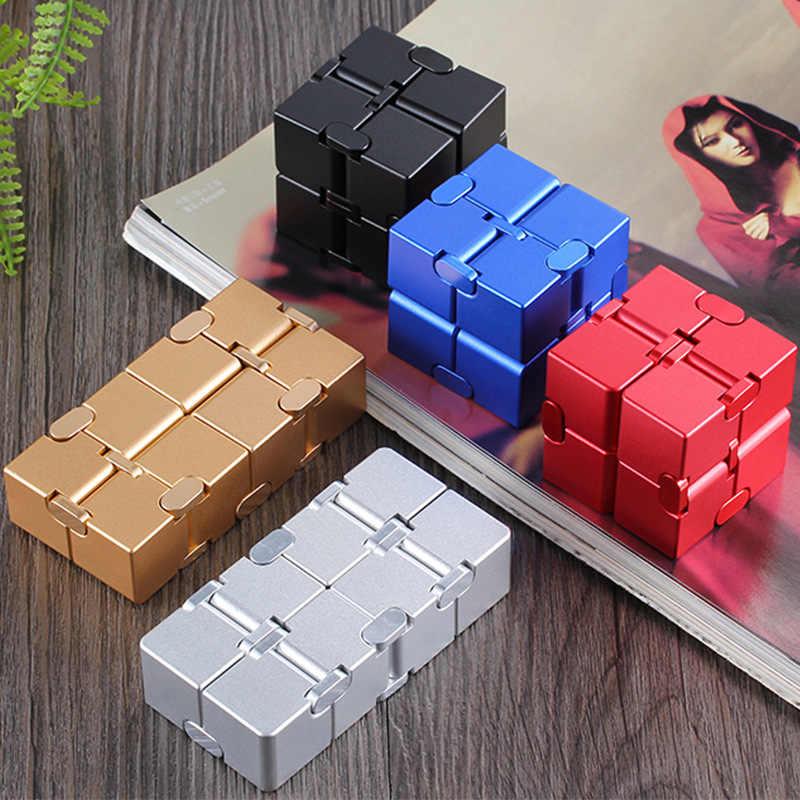 Cubo mágico de Metal Infinity juguetes dedo Fidget antiestrés ansiedad relajante Neos Trending Cube regalo de alta calidad para niños niñas hombres
