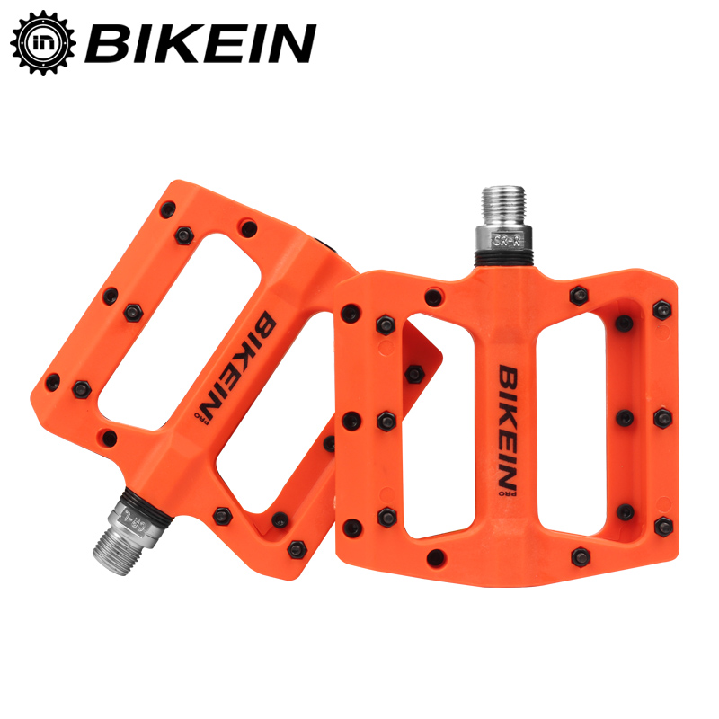 BIKEIN bicicleta de montaña Pedal MTB pedales BMX bicicleta plano pedales de Nylon Multi-Colores MTB ciclismo deportes ultraligero accesorios 355g