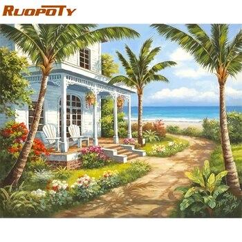 RUOPOTY cadre paysage marin bord de mer peinture à la main par numéros Kits peinture acrylique sur toile moderne mur Art photo pour décor à la maison 40x50