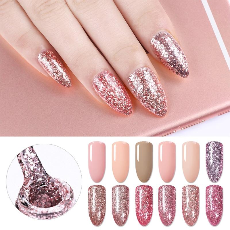 BORN PRETTY 5ml Rose Gold Nail Gel 1 Bottle Glitter Shining Soak Off UV Manicure Art Polish