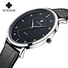 Wwoorควอตซ์ดูผู้ชายแบรนด์หรูนาฬิกาผู้ชายการออกแบบที่บางพิเศษสายหนังกันน้ำกีฬานาฬิกาผู้ชายrelógio masculino