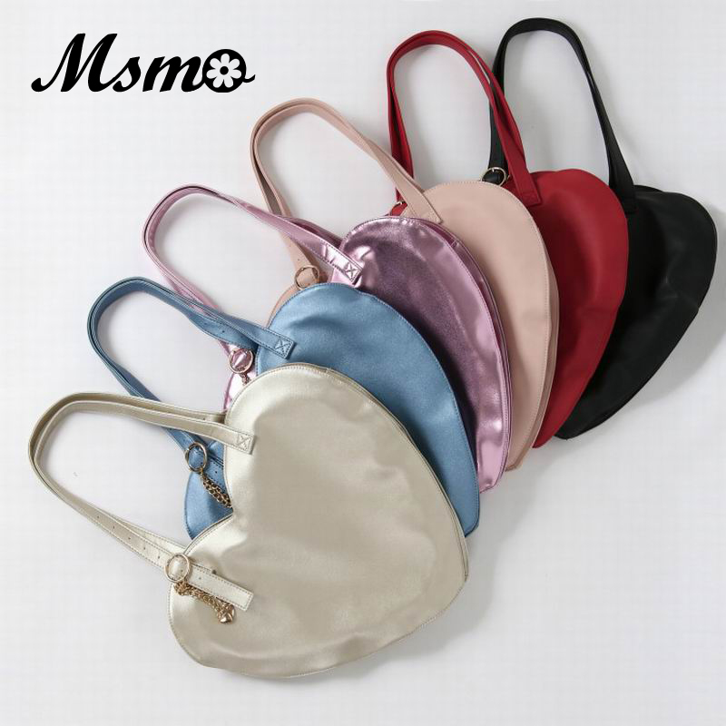 MSMO Lolita Lovely Heart Shaped Handbag Candy Color Women Shoulder Bag Large Capacity Lady Casual Tote PU Leather Girl Hand Bag jiaderui baby led mushroom night lamp soft silicone lamp 4 light modes and 16 color by wireless remote eu plug 100