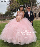 Принцесса розовый сладкий 16 бальное платье Бальные платья 2019 винтажные кружевные многоуровневые оборки Тюль Vestidos 15 Anos вечерние платья для