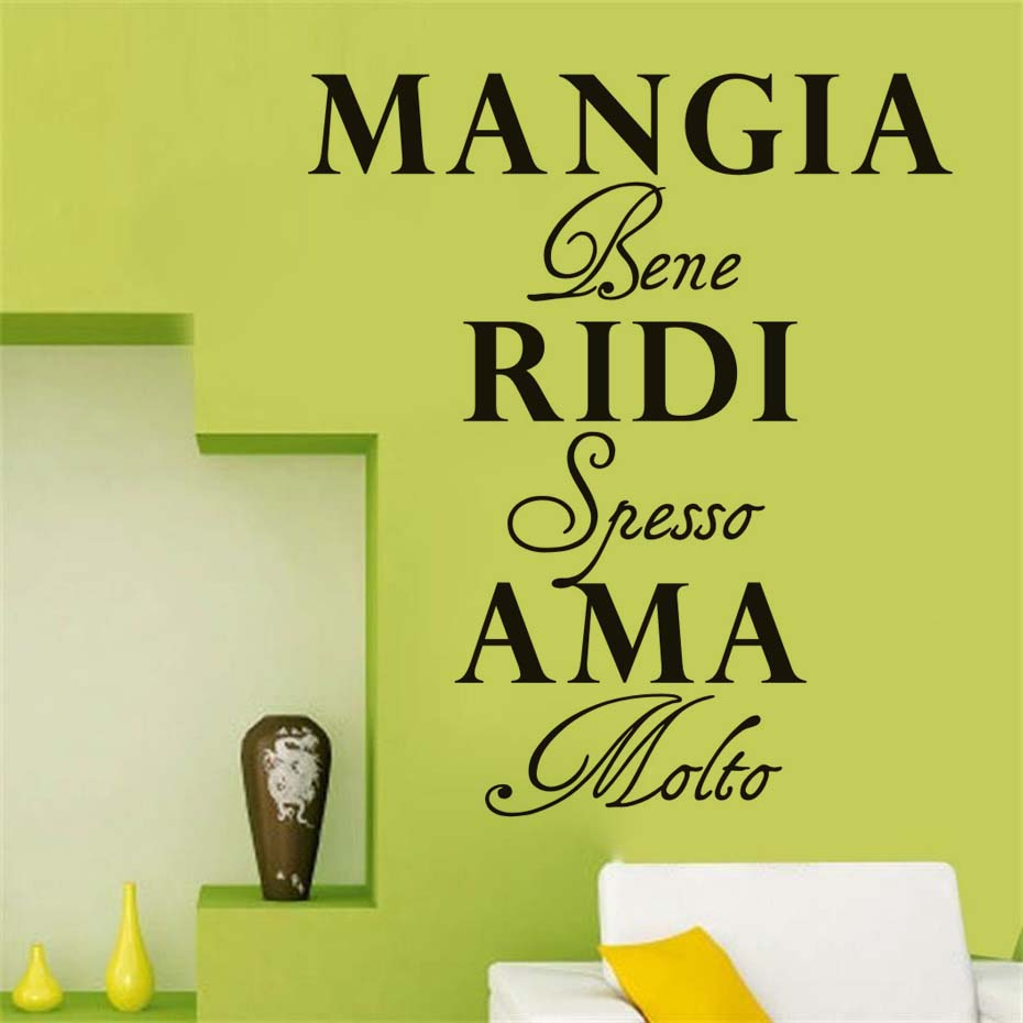 Italian Decorative Wall Decals Mangia bene, ridi spesso, ama molto ...