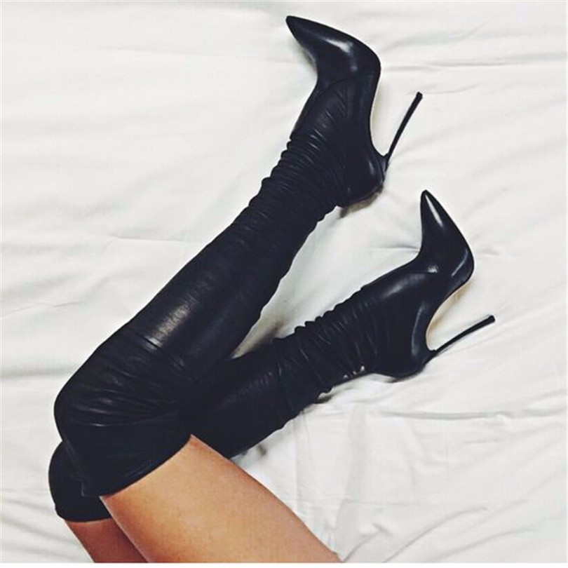 New Sexy Ladies Shoes Zapatos Mujer Casual Pointed Toe Over The Knee High Heels Women Shoes Boots Stretch Fabric Botas Mulheres hot fashion spring over the knee boots sweet buckle denim women boots sexy pointed toe thin high heels shoes woman zapatos mujer