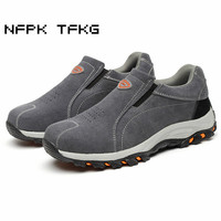 Large Size Men Fashion Breathable Steel Toe Caps Work Safety Shoes Slip On Genuine Leather Puncture
