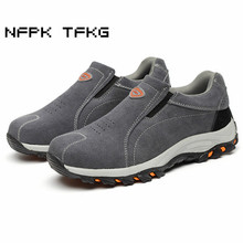 large size men fashion breathable steel toe caps work safety shoes slip-on genuine leather puncture proof tooling low boots male