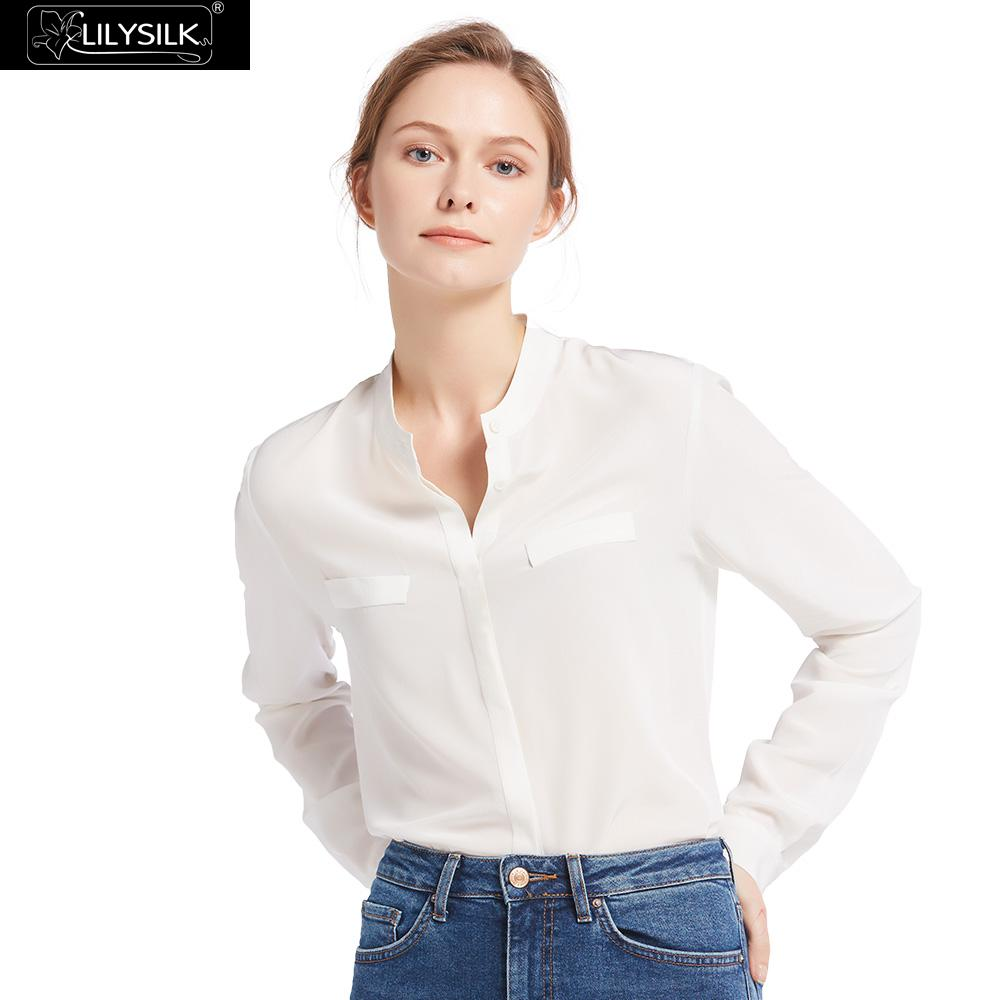2dc9b4c4201c8f Detail Feedback Questions about LILYSILK Shirts Blouse Women Feminine  Relaxed Fit Stand Collar Silk 18mm 100% Lightweight Wrinkle resistant Free  Shipping on ...