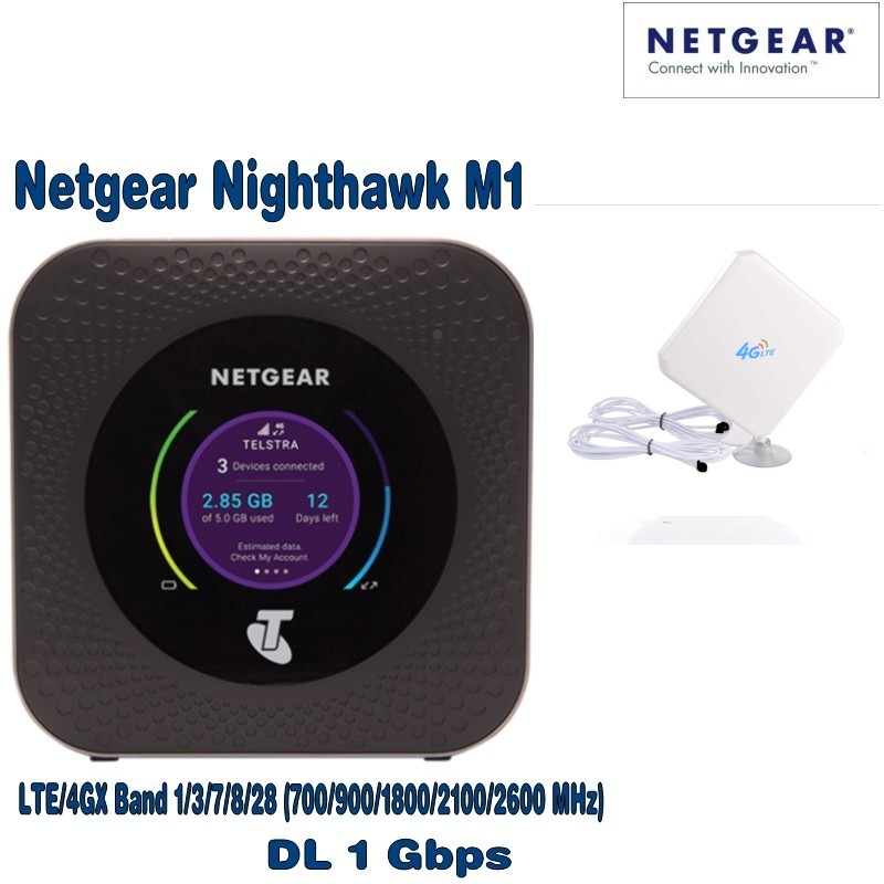 Netgear Nighthawk M1 4GX Gigabit LTE Mobile Router New Unlocked plus with 4g antenna unlocked netgear nighthawk m1 4g 150mbps wireless wifi router with antenna 4gx gigabit lte mobile router pk b315 b310