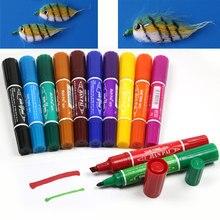 12 ألوان ربط الصيد دائم للماء التوأم علامات السحر الذباب قلم