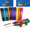 12 colores volar atando pesca permanente impermeable doble marcadores atraer moscas de pesca marcador pluma