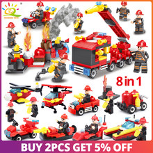 376pcs 8in1 Fire fighting Building Blocks Compatible Legoingly city truck Firefighter Helicopter Educational Bricks children Toy(China)