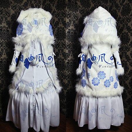 Kobato. Kobato Hanato Cosplay Costume Halloween Outfit White Snow Winter Coat Dress+Cape+Hood+Sleeves Custom-made