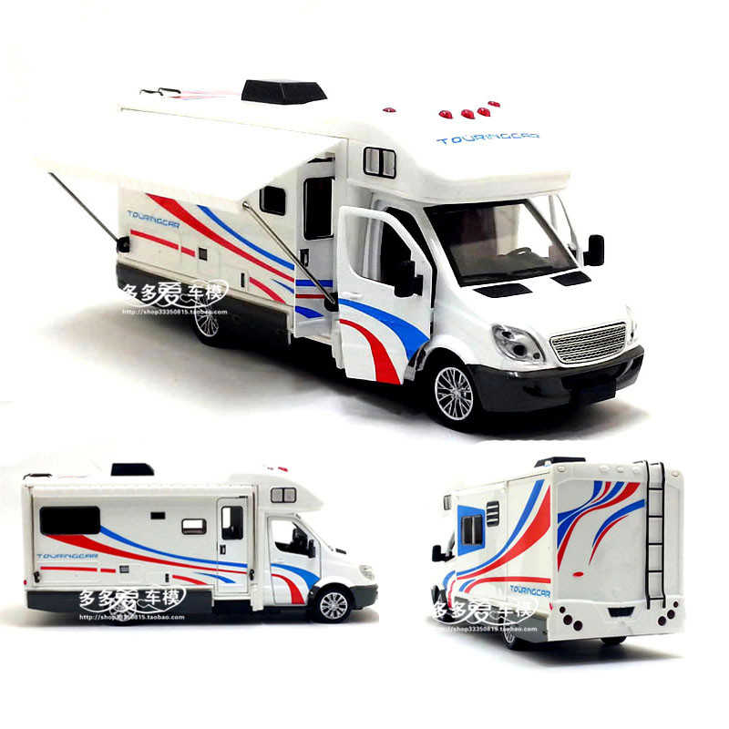 1:32 Scale Sprinter Luxury Motorhome Recreational Vehicle RV Trailer Caravan Alloy Metal Diecast Car Model Babys Toys Collection