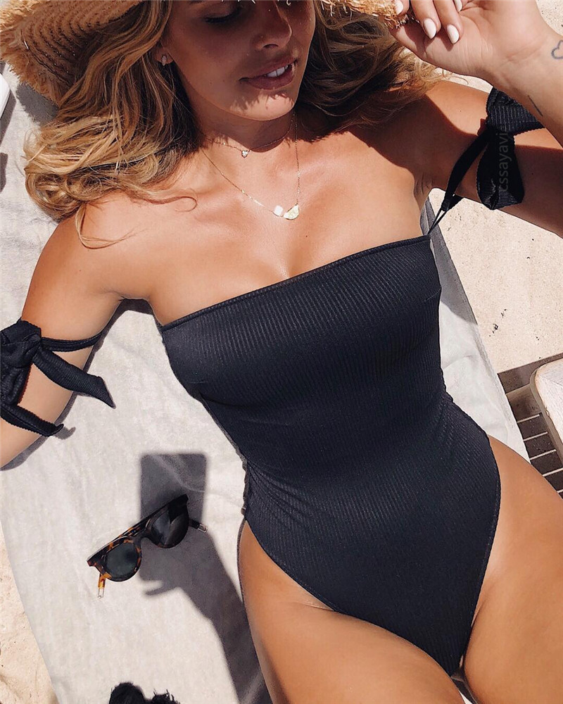 Sexy Black Bandage One Piece Swimsuit Strapless Off Shoulder Swimwear High Cut Bathing Suit Vintage Monokini Backless Bodysuit